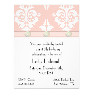 Pink and White Damask Invitation