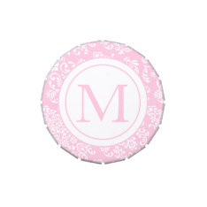 Pink and White Damask-Monogram Jelly Belly Candy Tins at Zazzle