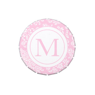 Pink and White Damask-Monogram Jelly Belly Candy Tins