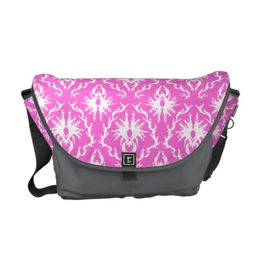 Pink and White Damask pattern. Commuter Bags