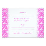 Pink and White Damask pattern. 3.5x5 Paper Invitation Card