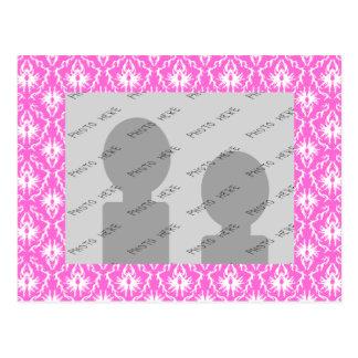 Pink and White Damask pattern. Postcard