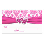 Pink and White Damask Place Cards Double-Sided Standard Business Cards (Pack Of 100)