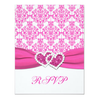 Pink and White Damask RSVP Card - NOT FOR SQ's