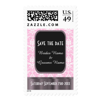 Pink and white damask save the date stamp