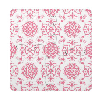 Pink and White Damask Style Pattern Puzzle Coaster