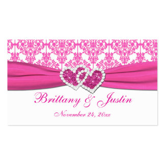 Pink and White Damask Wedding Favor Tag Double-Sided Standard Business Cards (Pack Of 100)