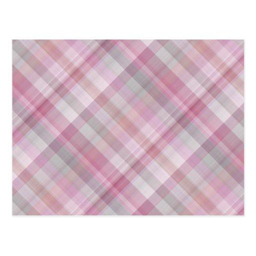 Pink and White Diagonal Plaid Pattern Postcards