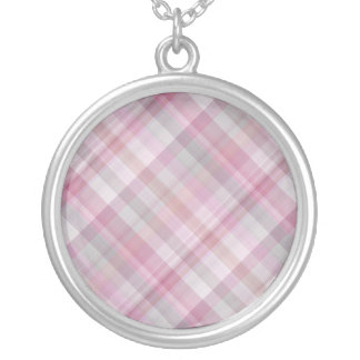 Pink and White Diagonal Plaid Pattern Round Pendant Necklace