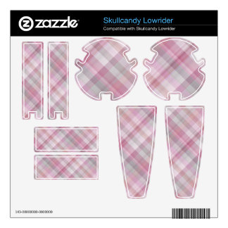 Pink and White Diagonal Plaid Pattern Skullcandy Decal