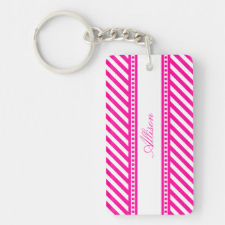 Pink and White Diagonal Stripes Keychain