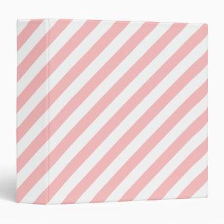 Pink and White Diagonal Stripes Pattern 3 Ring Binder