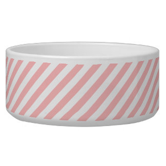 Pink and White Diagonal Stripes Pattern Bowl