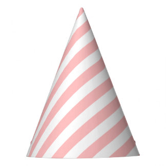 Pink and White Diagonal Stripes Pattern Party Hat