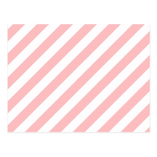 Pink and White Diagonal Stripes Pattern Postcard