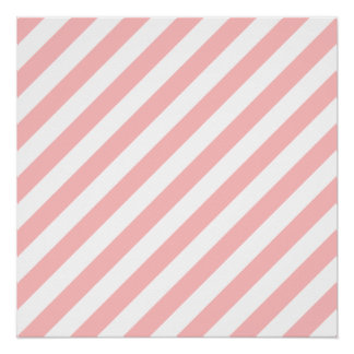 Pink and White Diagonal Stripes Pattern Poster