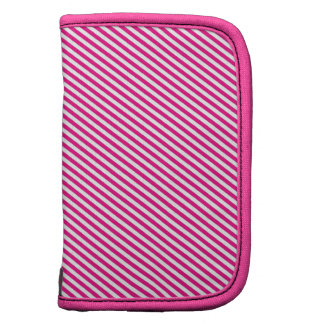 Pink and White Diagonal Stripes Planner