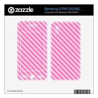 Pink and White Diagonal Stripes Samsung STAR S5230C Decal
