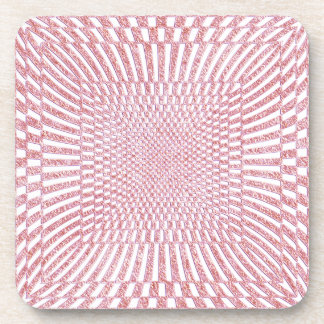 Pink and White Distorted Checkered Pattern Beverage Coaster