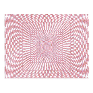 Pink and White Distorted Checkered Pattern Postcard