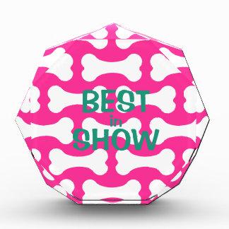 Pink and white dog bones custom award