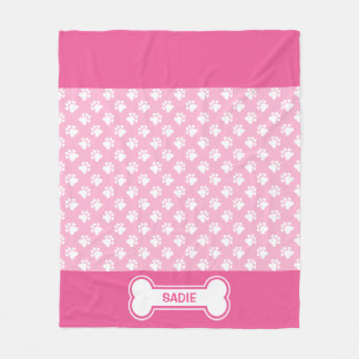 Pink And White Dog Paws And Bone With Name Fleece Blanket