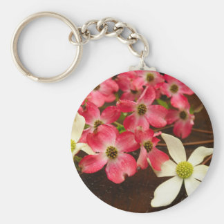 Pink And White Dogwood Flowers Keychain