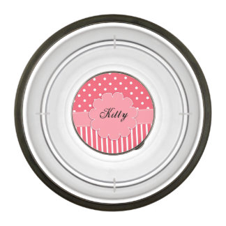 Pink and White Dots and Stripes Pet Bowl
