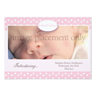 """Pink and White Dots Horizontal Birth Announcement 5"""" X 7"""" Invitation Card"""