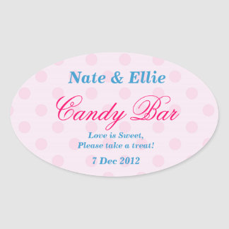 Pink and White Dotty Candy Bar Sticker