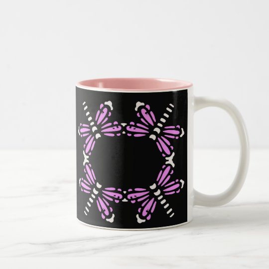 Pink and white dragonflies on black Two-Tone coffee mug