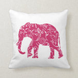 Pink and white elephant throw pillow