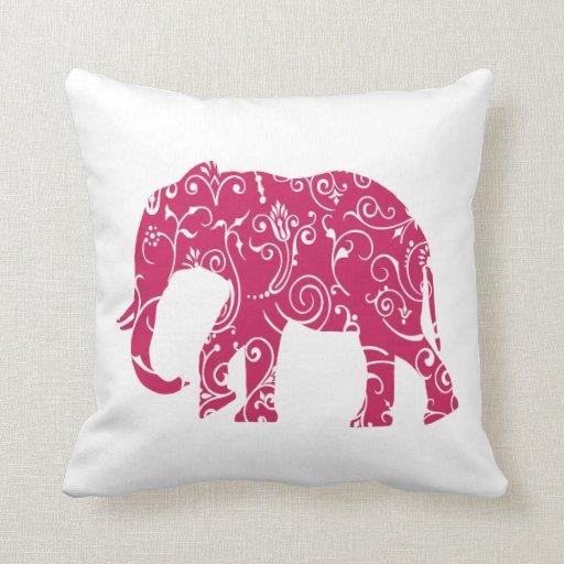 Pink Elephant Throw Pillow : Pink and white elephant throw pillow Zazzle