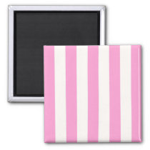 Pink and White Extra Large Stripe Pattern Magnet