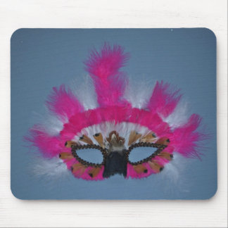 Pink and white feather mask mouse pads