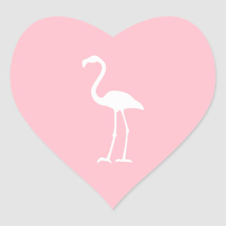 Pink and White Flamingo Heart Stickers
