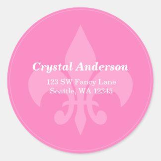 Pink and White Fleur-De-Lis Custom Address Label Round Stickers
