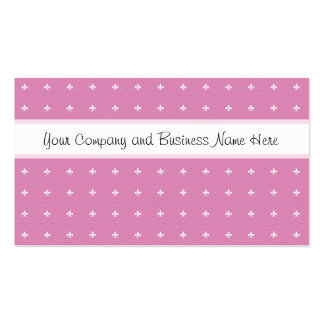 Pink and White Fleur de Lys Business Card