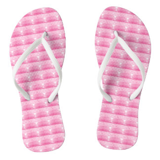 Pink and white flip flops
