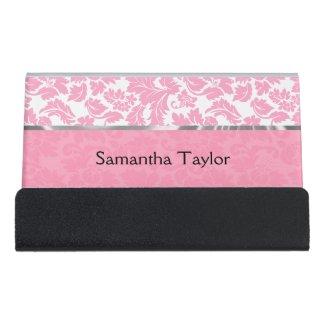 Pink And White Floral Damask Desk Business Card Holder