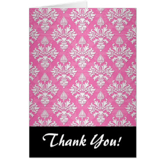 Pink and White Floral Damask Pattern Card