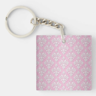 Pink and White Floral Damask Pattern Keychain