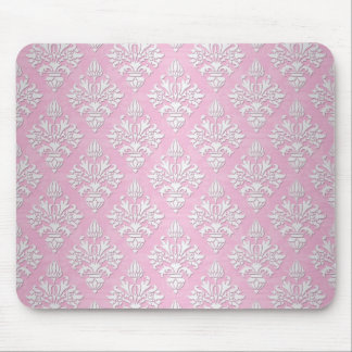 Pink and White Floral Damask Pattern Mouse Pad