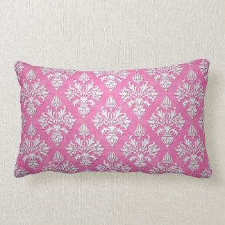 Pink and White Floral Damask Pattern Pillow