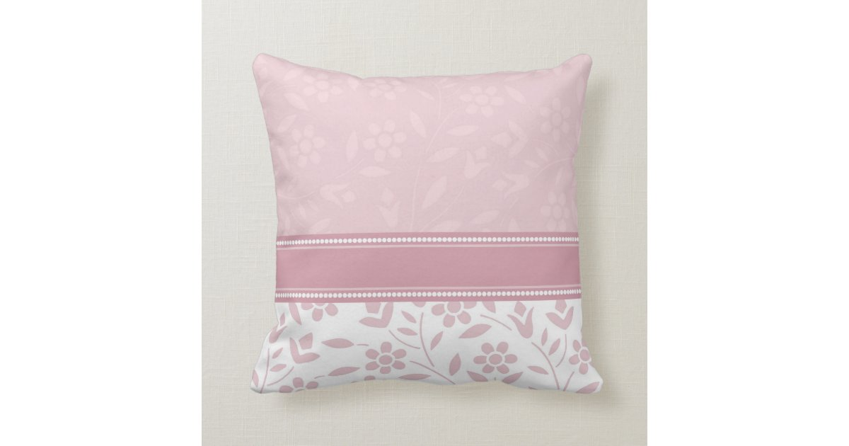Pink and White Floral Decorative Pillow Zazzle