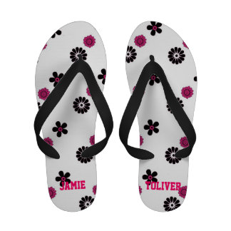 Pink and White Floral Flip Flops