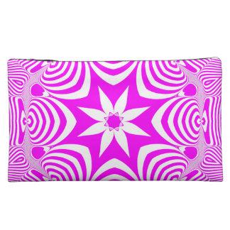 Pink and White Floral Mandala Bagettes Cosmetic Ba Makeup Bag