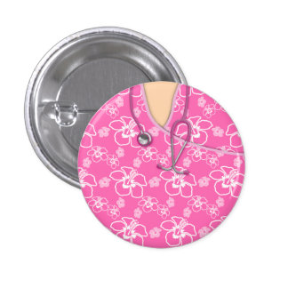 Pink And White Floral Medical Scrubs Button