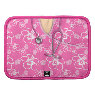 Pink And White Floral Medical Scrubs Folio Planner