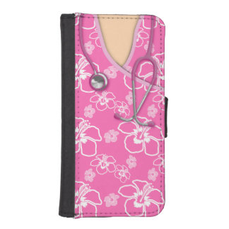 Pink And White Floral Medical Scrubs iPhone 5 Wallet Case